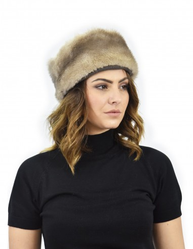 Cappello in pelliccia di visone tortora e pelliccia di montone