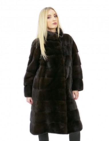 Cappotto 46 lungo 100 cm pelliccia visone donna mogano collo alto manica 3/4