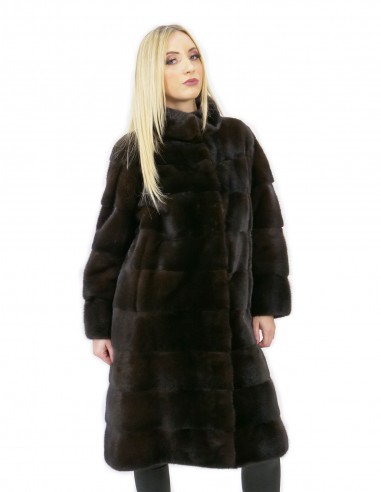 Cappotto 52 lungo 100 cm pelliccia visone donna mogano collo alto manica 3/4