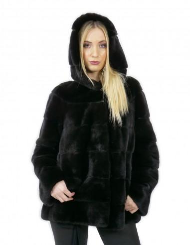 Giacca 44 lungo 71 cm pelliccia visone donna nero cappuccio manica 3/4