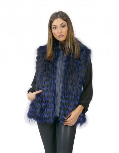 Gilet donna 44 lungo 70 cm pelliccia volpe filettata blu chiusura zip smanicato