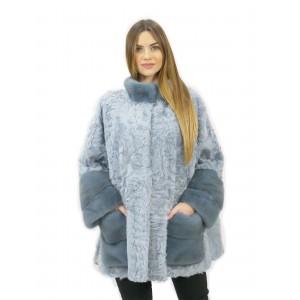 Mantella persiano e visone colore acquamarina taglia 50 con spacchi laterali modello ad ala