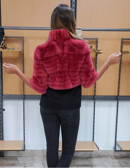 giacca in pelliccia di visone colore fuxia slim