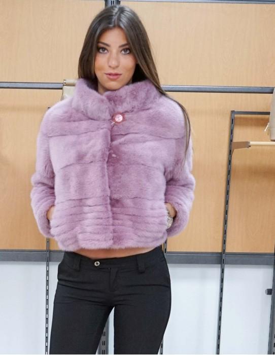 giacca in pelliccia di visone orizzontale colore rosa collo cratere