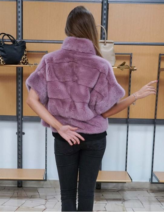 giacca mantella in pelliccia di visone colore rosa slim