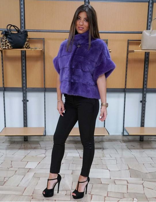 mink fur jacket horizontal purple cape