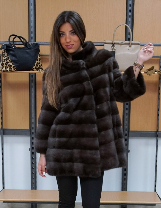 horizontal mink coat gray-brown neck crater