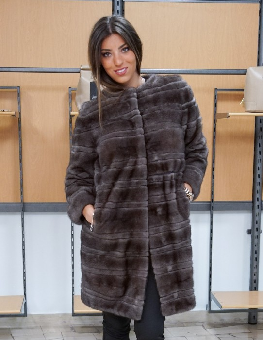 Mink coat gray brown horizontal machining around removable collar 46