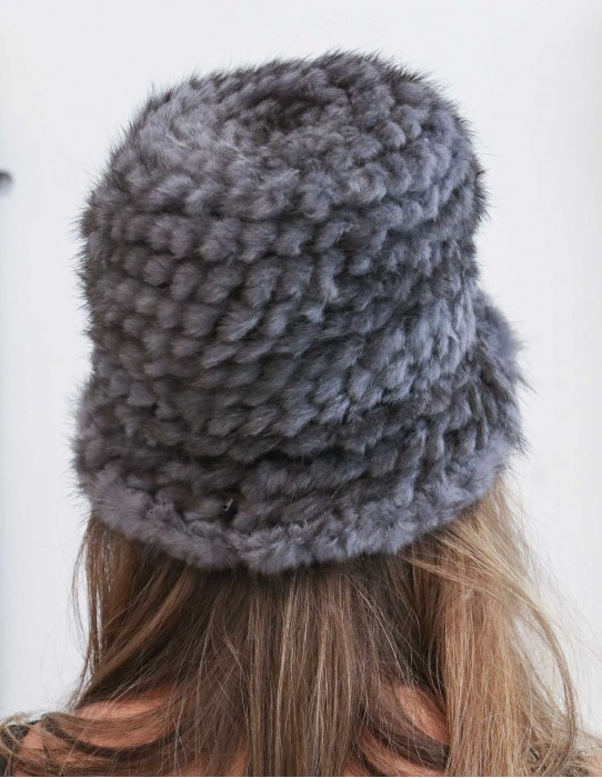 bowler style hat knitted mink Dark gray