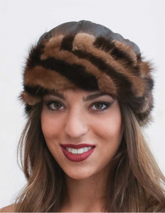 leather hat with mink tails edge