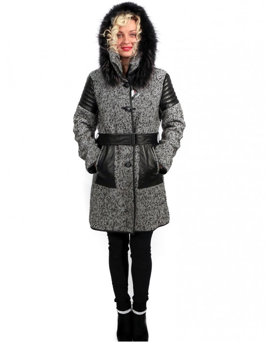 WOOL COAT WITH DETACHABLE HOOD 48 HERRINGBONE MOD.MONTGOMERY