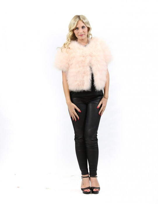 Fur cape feathered pink short with hooks Pignatelli 46