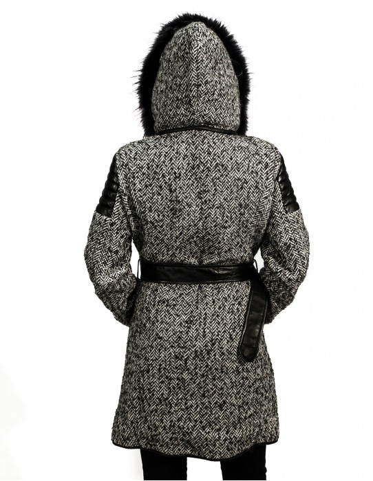 42 HERRINGBONE WOOL COAT WITH LEATHER AND HOOD reversible MURMASKY EDGED AND DETACHABLE
