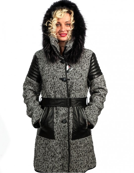 46 HERRINGBONE WOOL COAT WITH LEATHER AND HOOD reversible MURMASKY EDGED AND DETACHABLE