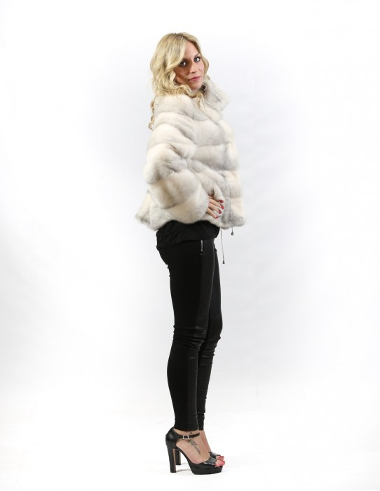 Sapphire mink fur jacket cross frosted horizontal braschi with drawstring and pockets