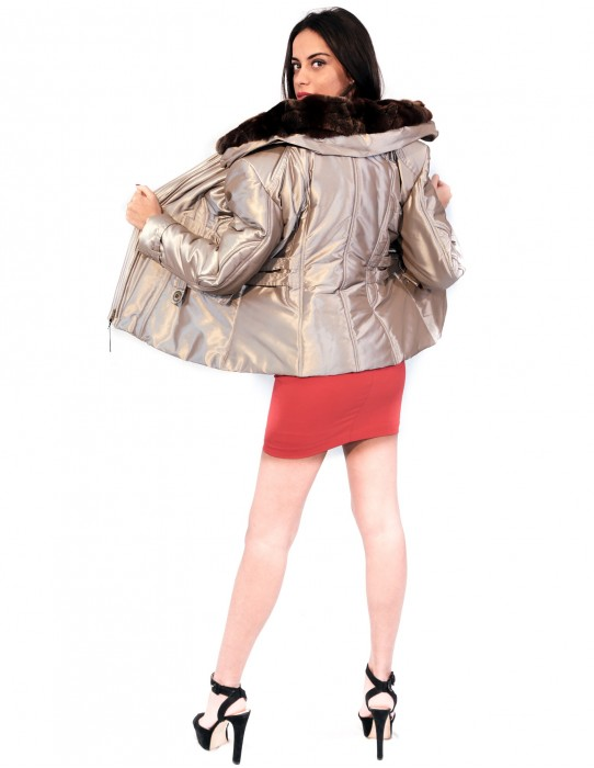 PUFFER JACKET BEIGE WITH NECK DETACHABLE IN REX 55