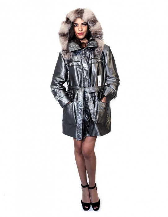 PUFFER JACKET WITH DETACHABLE HOOD EDGED FOX BELT ZIP AND BUTTONS 51