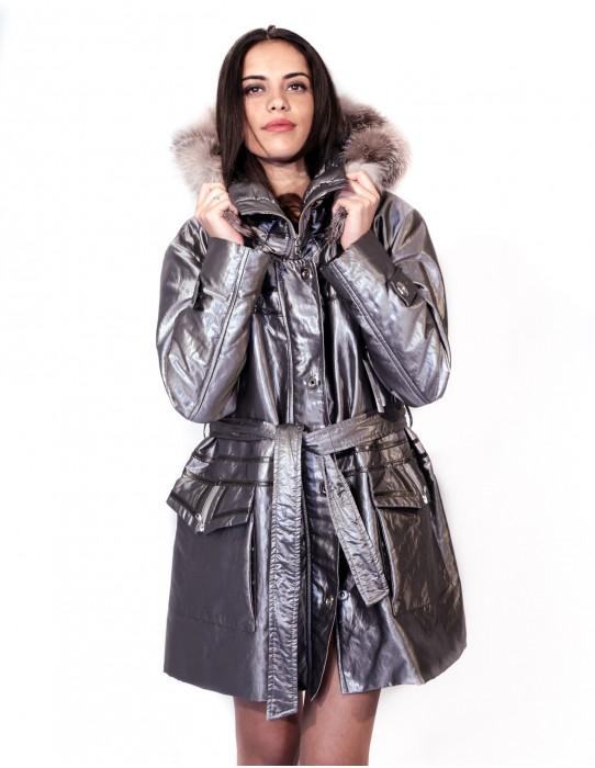 PUFFER JACKET WITH DETACHABLE HOOD EDGED FOX BELT ZIP AND BUTTONS 55