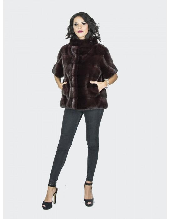 46 giacca pelliccia visone smanicato burgundy fur mink Pelz Nerz мех норки 水貂皮草