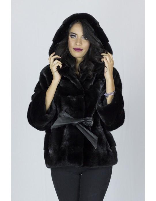 mink coat black hood меха 水貂 皮草 fourrure vison pelliccia visone Pelz Nerz