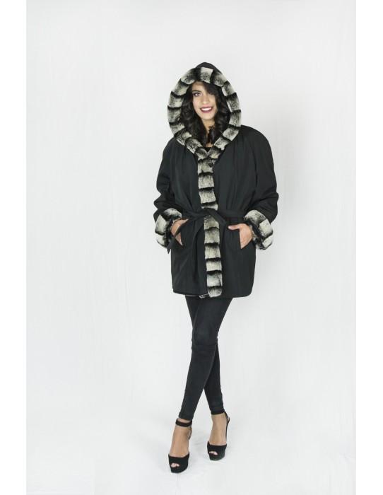 Reversible jacket black chinchilla rex 60 pelliccia fur Fell обратимым мех 可逆毛皮