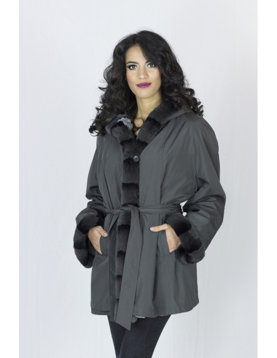 Gray chinchilla coat reversible rex 50 pelliccia fur Fell mex 可逆毛皮 fourrure