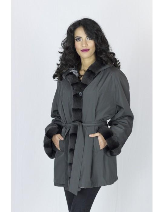 Gray chinchilla coat reversible rex 54 pelliccia fur Fell mex 可逆毛皮 fourrure