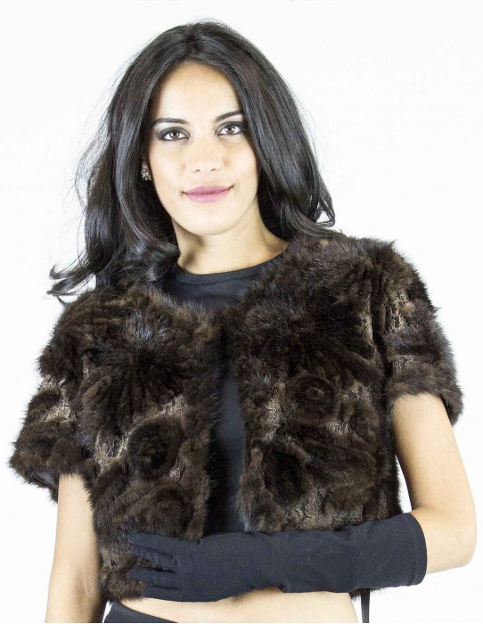 brown mink jacket with lace inserts with hook and round neck
