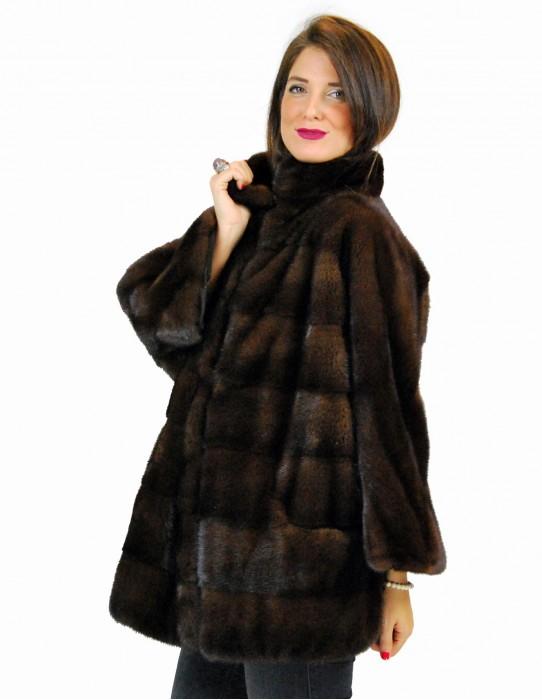44 Horizontal mahogany mink jacket pelliccia visone pelz nerz норка fourrure vison