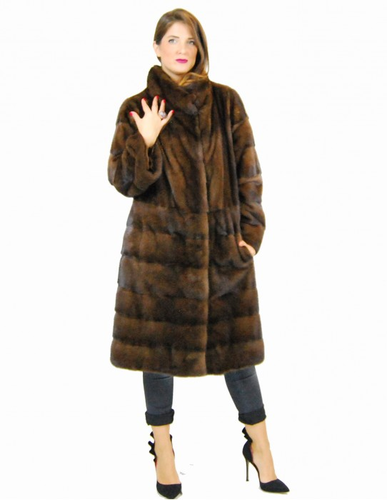 46 Horizontal scanbrown coat with exclusive length pelliccia visone pelz nerz норка fourrure vison