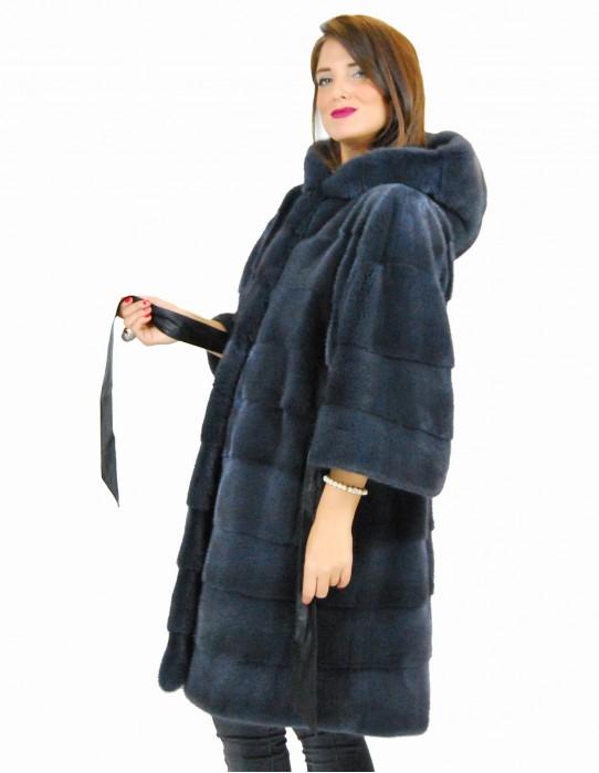 46 Horizontaler blauer Mantel Anthrazit Mantel aus Leder fur mink pelliccia visone норка fourrure vison