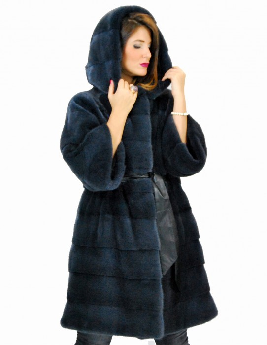 46 Cappotto orizzontale visone blu antracite cinta in pelle  fur mink pelz nerz норка fourrure vison