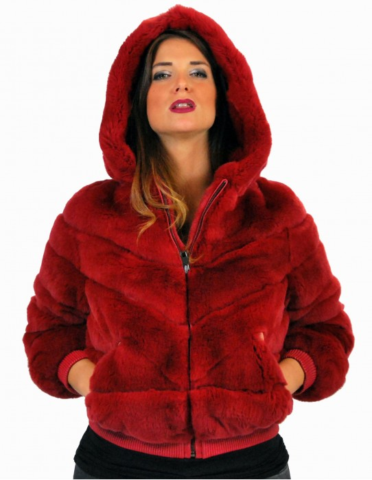 42 Rex red purple fur short zip cap pelliccia rex pelz мех рекс fourrure