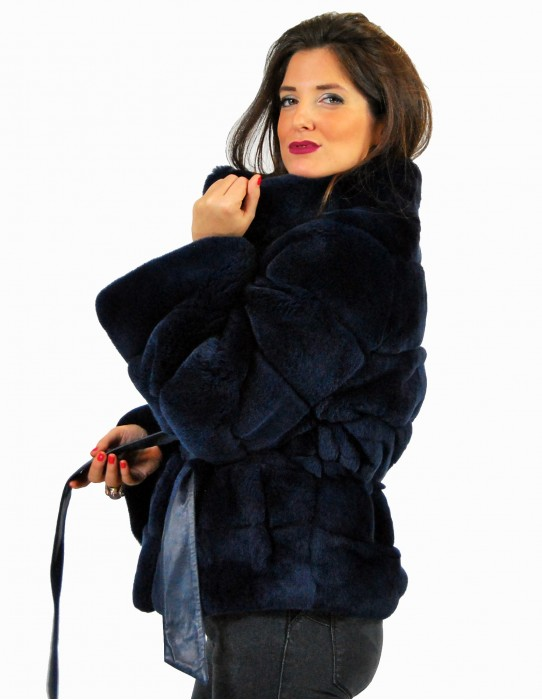 46 Fur Rex blue navy leather belt pelliccia rex pelz мех рекс fourrure
