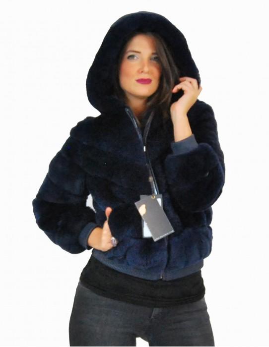 44 Fur Rex blue navy elastic hood pelliccia rex pelz мех рекс fourrure