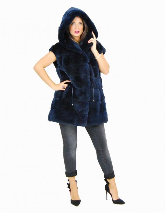 46 Rex blue navy hooded fur cap pelliccia rex pelz мех рекс fourrure