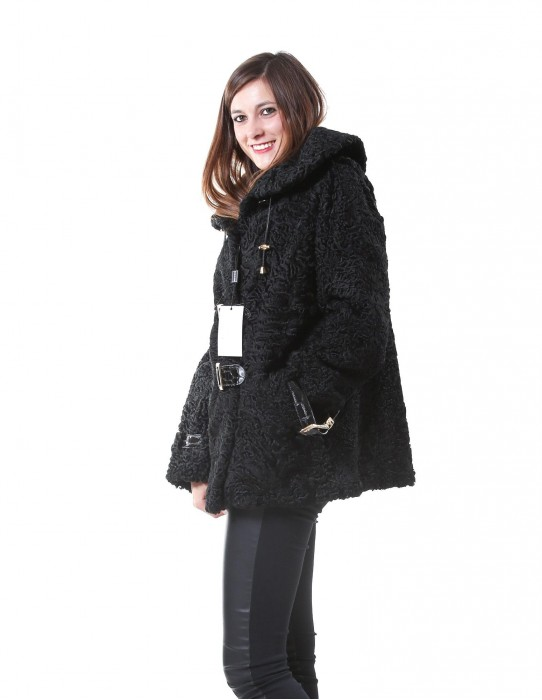 FUR JACKET BLACK WOMAN WITH PERSIAN SWAKARA BUCKLES IN PAINT
