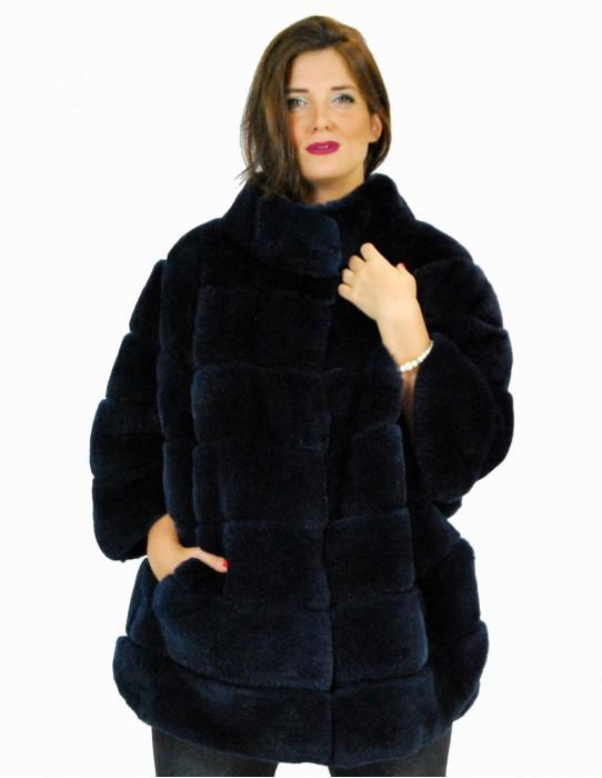 46 Rex blue navy coat with lateral spacers pelliccia rex pelz мех рекс fourrure