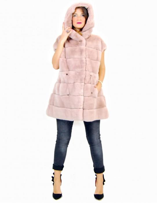42 Rex fur coat with rose hood pelliccia rex pelz мех рекс fourrure