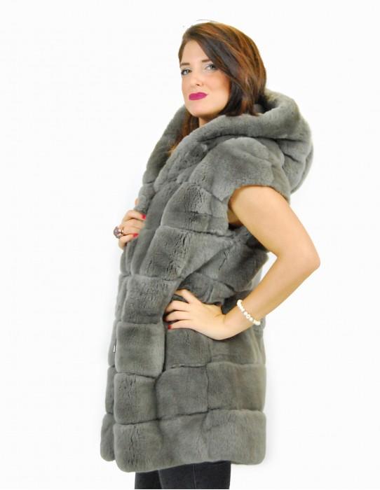 44 Rex green fur coat with hood pelliccia rex pelz мех рекс fourrure