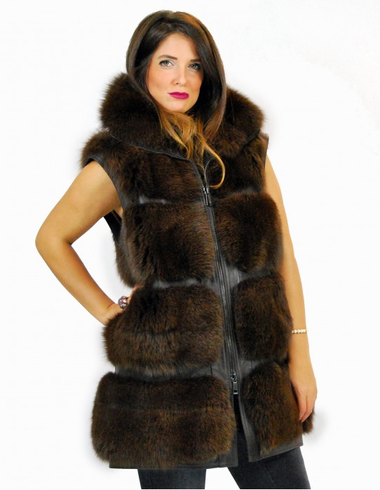 48 Brown fox fur coat with leather trim Fuchspelz pelliccia volpe лисица fourrure renard