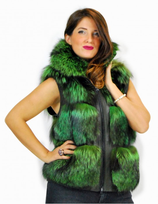 44 Light green fox fur coat with glossy skin Fuchspelz pelliccia volpe лисица fourrure renard