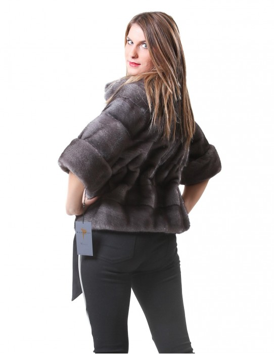 MINK FUR JACKET WITH WORKING WOMAN IN GRAY HORIZONTAL BLUE IRIS