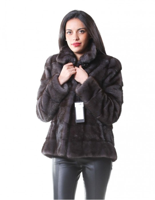 MINK FUR JACKET WOMAN IN A GRAY DARK GRAY LEATHER WHOLE HORIZONTAL