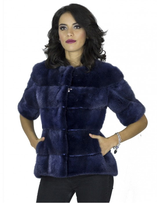 Giacca pelliccia visone blu smanicato 42 fourrure vison 水貂皮草 fur mink Pelz Nerz mex hopka