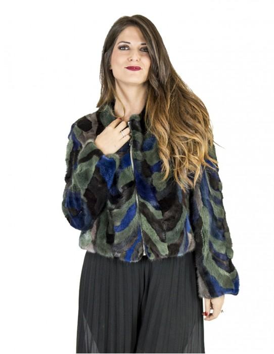 Jacket 46 green and blue zip mink petals Nerz Blüten норка visone petali