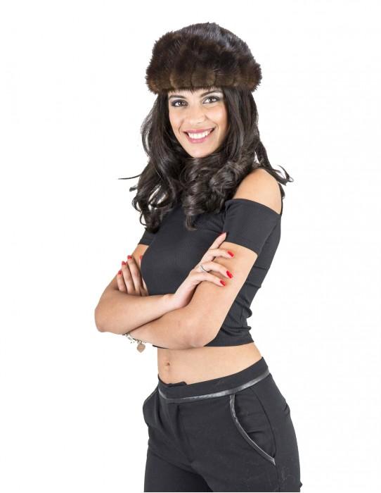 Demi Suede fur hat petal small mahogany 毛皮 fourrure pelliccia cappello mex pelz