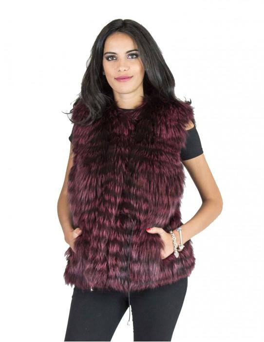пурпурный фиолетовый лисицы жилет длинный шнурок 42 fourrure renard fox fur pelliccia volpe Fuchspelz