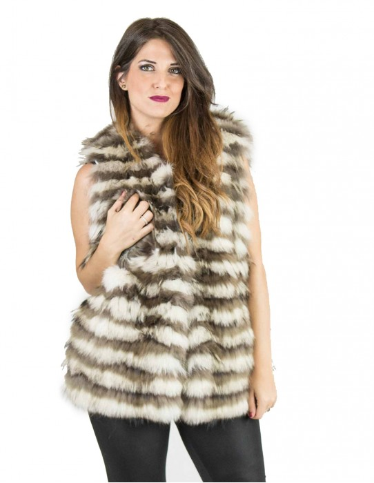 Gilet volpe pelo lungo ice scuro coulisse 44 fourrure renard fox fur лисицы Fuchspelz