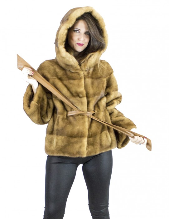 Mink Fur 44 gold honey belt jacket hood vison норка pelliccia visone Nerzpelzes fourrure
